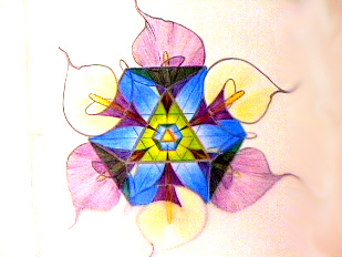 Shushum Flower geometry pastel drawing